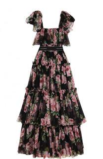 Шелковое платье-макси с оборками и принтом Dolce & Gabbana