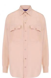 Однотонная шелковая блуза с накладными карманами Ralph Lauren