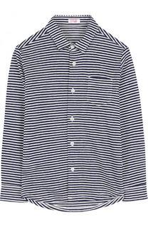 Рубашка из хлопка и льна в полоску Il Gufo