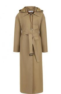Однотонное хлопковое пальто с поясом и капюшоном Walk of Shame