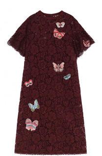 Кружевное платье-миди с отделкой в виде бабочек Valentino
