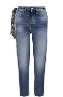Укороченные джинсы с потертостями и лампасами Jacob Cohen