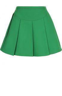 Однотонная хлопковая юбка в складку Valentino