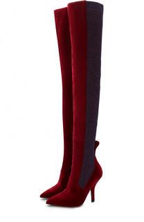 Бархатные ботфорты с вязаной отделкой на шпильке Fendi