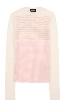 Приталенный шерстяной пуловер с круглым вырезом CALVIN KLEIN 205W39NYC