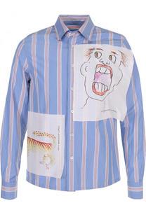 Хлопковая рубашка в полоску с отделкой Marni
