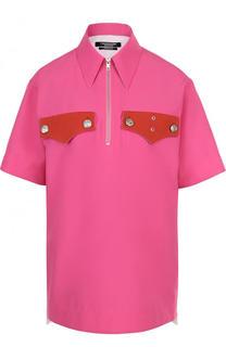 Блуза с коротким рукавом и контрастной отделкой CALVIN KLEIN 205W39NYC