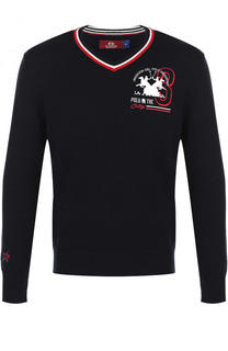 Хлопковый пуловер с контрастной отделкой La Martina