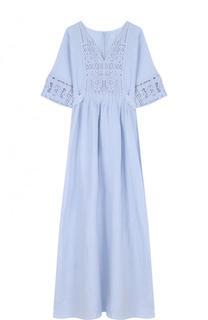 Приталенное хлопковое платье-миди 120% Lino