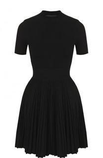 Приталенное мини-платье с плиссированной юбкой Alexander Wang