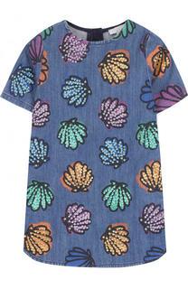 Джинсовое мини-платье с пайетками Stella McCartney