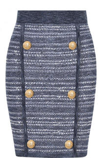 Вязаная мини-юбка с контрастными пуговицами Balmain