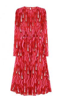 Шелковое платье-миди с принтом и длинным рукавом Valentino