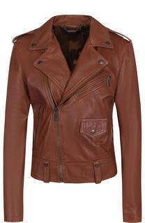 Однотонная кожаная куртка с косой молнией Polo Ralph Lauren