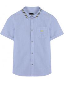 Хлопковая рубашка с короткими рукавами и контрастной отделкой Armani Junior