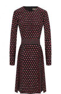 Шелковое приталенное мини-платье с принтом Burberry