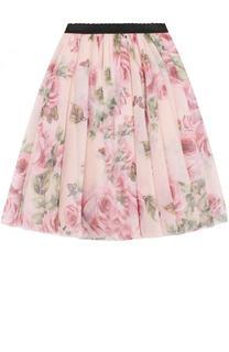 Многослойная юбка с принтом и эластичным поясом Dolce & Gabbana