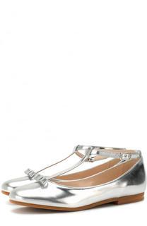 Туфли из металлизированной кожи с бантом на ремешке Il Gufo