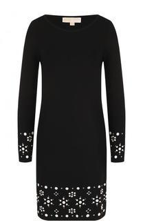Приталенное мини-платье с длинным рукавом и контрастной отделкой MICHAEL Michael Kors