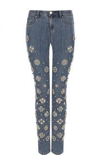 Укороченные джинсы-скинни с декоративной отделкой MICHAEL Michael Kors