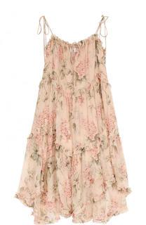 Приталенное шелковое платье-миди с принтом Zimmermann