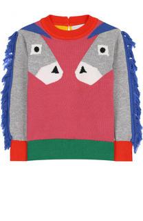 Хлопковый пуловер с бахромой Stella McCartney