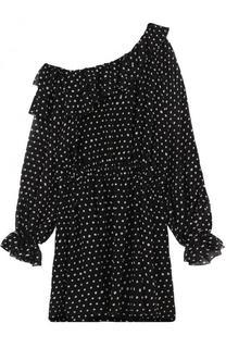 Шелковое мини-платье с открытыми плечами Saint Laurent