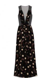 Шелковое платье-макси с принтом и прозрачной отделкой Giorgio Armani
