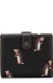 Кожаное портмоне с принтом и контрастной прострочкой Coach