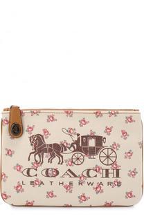 Текстильная косметичка с цветочным принтом и логотипом бренда Coach