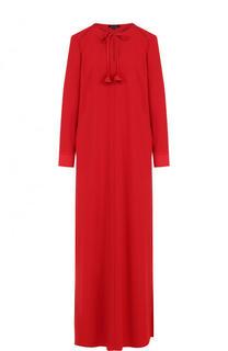 Платье-макси свободного кроя с длинным рукавом Escada