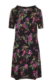 Приталенное мини-платье с цветочным принтом Escada