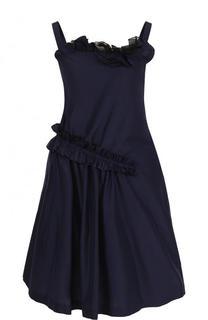 Мини-платье из смеси хлопка и шелка с драпировкой Lanvin