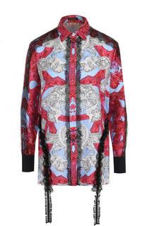 Шелковая блуза с принтом и кружевной отделкой Versace