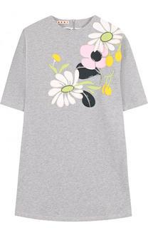 Хлопковое мини-платье с аппликациями и пайетками Marni