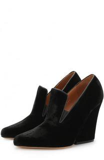 Бархатные туфли на фигурном каблуке Dries Van Noten