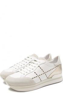 Комбинированные кроссовки с перфорацией на шнуровке Hogan