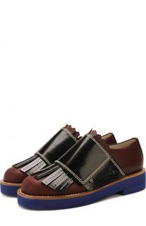 Кожаные ботинки с широким ремешком и бахромой Marni