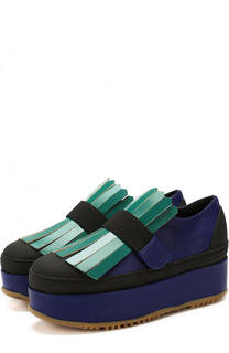 Кожаные ботинки с бахромой на платформе Marni