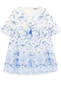 Платье свободного кроя из хлопка и шелка с принтом Ermanno Scervino