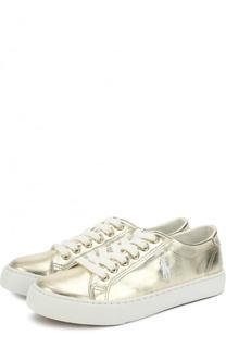 Кеды из металлизированной кожи на шнуровке Polo Ralph Lauren