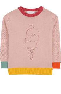 Хлопковый пуловер с контрастной отделкой Stella McCartney