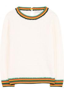 Хлопковый пуловер фактурной вязки с контрастной отделкой Stella McCartney