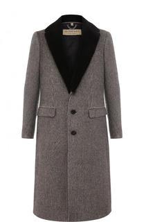 Однобортное шерстяное пальто с меховой отделкой воротника Burberry