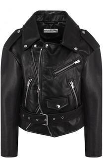 Укороченная кожаная куртка с косой молнией Balenciaga