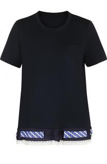 Хлопковая футболка с круглым вырезом Sacai