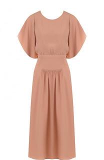 Однотонное приталенное платье-миди No. 21