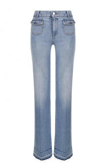 Расклешенные джинсы со стрелками и потертостями Stella McCartney
