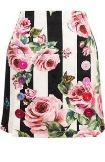 Мини-юбка в полоску с цветочным принтом Dolce & Gabbana