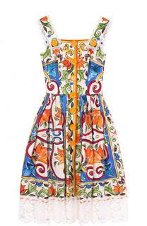 Хлопковые сарафан с принтом и кружевной отделкой Dolce & Gabbana